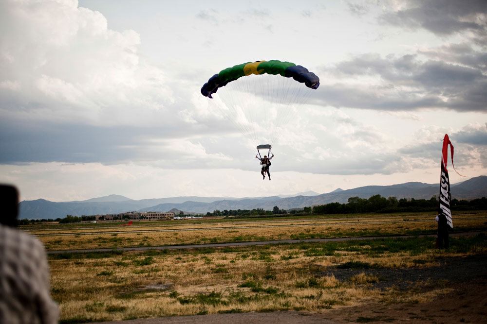 Colorado Wedding - skydiving, grey & yellow, sunflowers