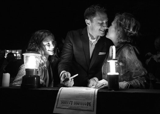 A Surprise Night Wedding Shot in Black & White, Vail Colorado