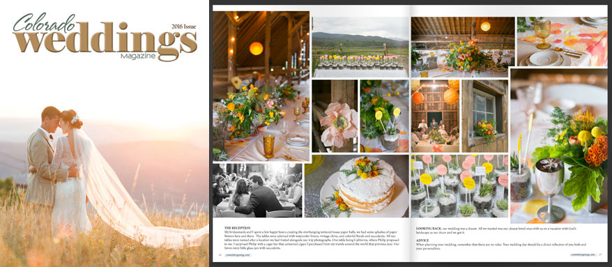 Colorado Wedding Magazine Feature - Rocky Mountain Bliss